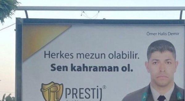 Şehit Ömer Halisdemir'i reklam malzemesi yaptılar