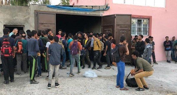 Bir evde 244 göçmen yakalandı