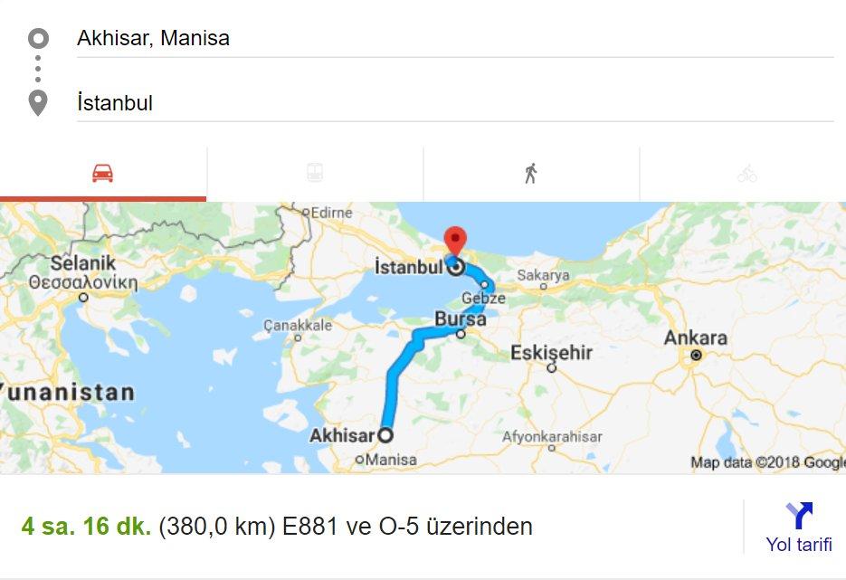 Akhisar - İstanbul arası